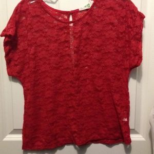 Red lace Floral Juniors top